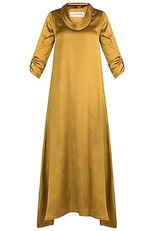 Yellow Cowl Maxi Dress by Payal Goenka