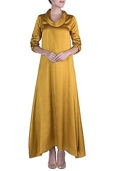 Yellow Cowl Maxi Dress by Payal Goenka