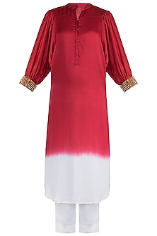 Red Embellished Ombre Tunic With Pants by Payal Goenka