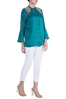 Emerald Green Embellished Shirt by Payal Goenka
