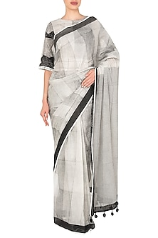 Black And White Block Printed Monochrome Saree by Silk Waves