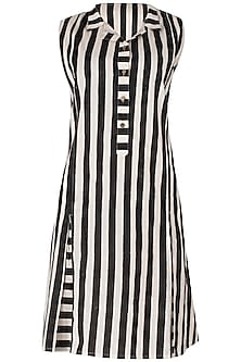 Black And White Knee Length Block Printed Dress by Silk Waves