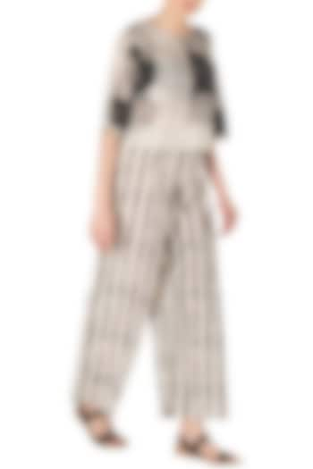 Black and White Striped Block Printed Palazzo Pants by Silk Waves