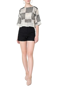 Black and White Checkered Print Crop Top by Silk Waves