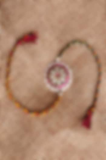 Gold Finish Pink Stone Rakhi In Sterling Silver by Pichola