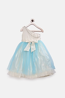 Ivory & Sky Blue Princess Gown by Pink Cow