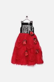 Black & Red Sequins Floral Gown by Pink Cow