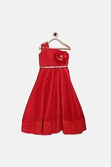 Red Ankle Length Quilted Gown by Pink Cow