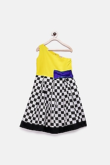 Yellow Checkered Gown With Bow by Pink Cow
