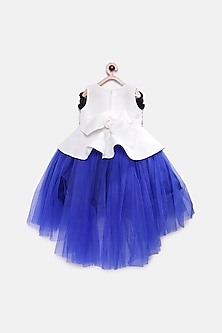 Blue & White Embroidered Peplum Dress by Pink Cow