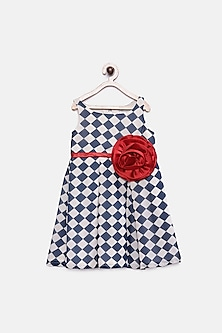 Blue & White Checkered Dress by Pink Cow