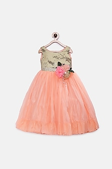 Peach Sequins Floral Dress by Pink Cow