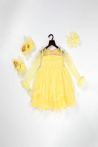 Yellow Net Dress With Attached Flower by Pink Cow