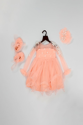 Peach Net Dress With Attached Flower by Pink Cow