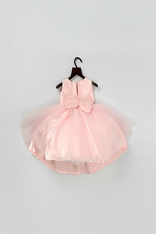 Peach Net Dress With Lace by Pink Cow