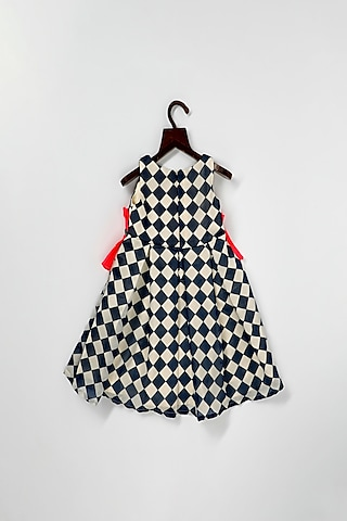 Navy Blue Checkered Dress by Pink Cow