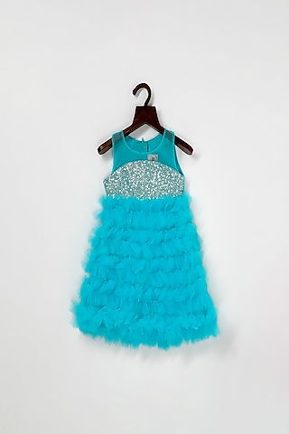 Blue Net Dress With Frills by Pink Cow
