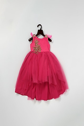 Pink Net High-Low Ball Gown by Pink Cow