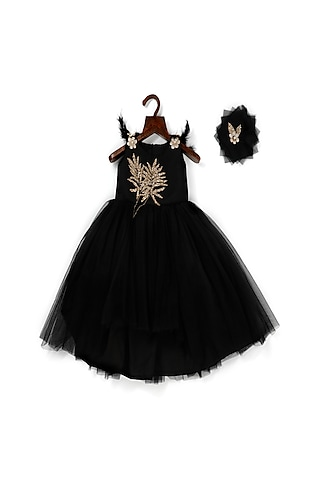 Black Net High-Low Ball Gown by Pink Cow