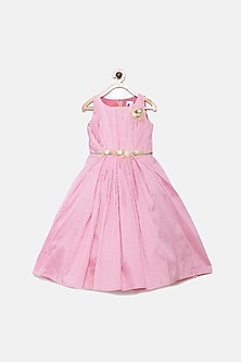 Rose Pink Flared Gown With Belt by Pink Cow