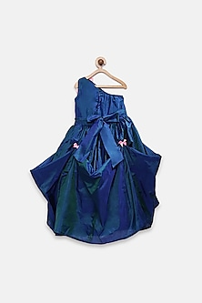 Royal Blue Flared Gown With Bow by Pink Cow