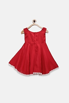 Red Knee Length Dress With Broach by Pink Cow