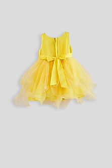 Yellow Knee Length Dress With Pearl Detailing by Pink Cow