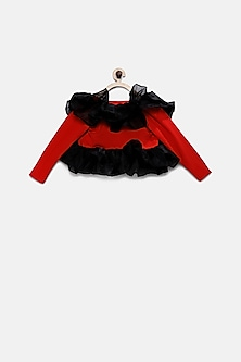 Red & Black Ruffled Shrug by Pink Cow