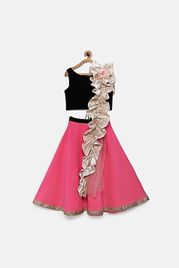 Candy Pink & Black Lehenga Set by Pink Cow