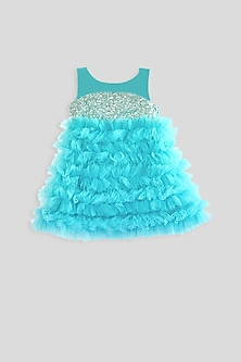 Sky Blue & Silver Ruffled Dress by Pink Cow