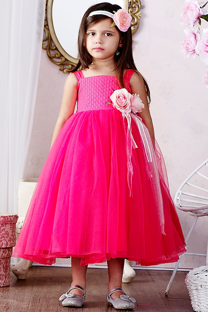 Pink Net & Satin Gown by Pink Cow