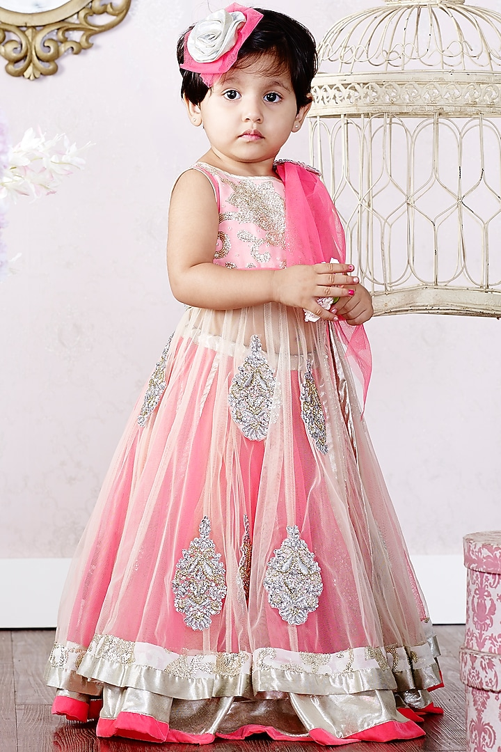 Pink & White Ghagra Set by Pink Cow