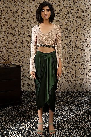Olive Green Embellished Draped Dhoti Set by Piyanshu Bajaj