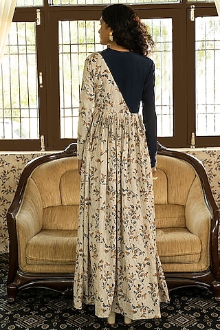 Beige Printed & Embroidered Maxi Dress by Piyanshu Bajaj