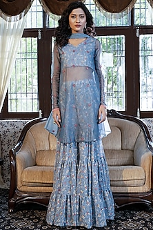 Dusty Blue Grey Floral Printed Sharara Set by Piyanshu Bajaj
