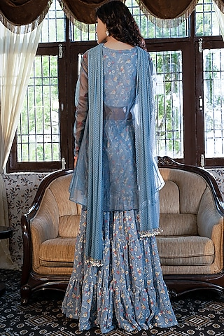 Grey Floral Printed Sharara Set by Piyanshu Bajaj