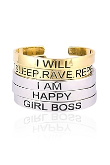 Gold and Silver Finish Set Of 5 Karma Bangles by Pipa Bella-JEWELLERY ON DISCOUNT