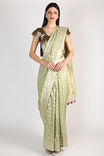 Pista Green & Golden Banarasi Saree Set by Priyanka Jha