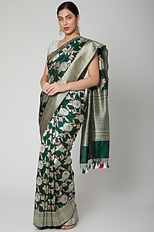 Forest Green Handwoven Banarasi Saree Set by Priyanka Jha