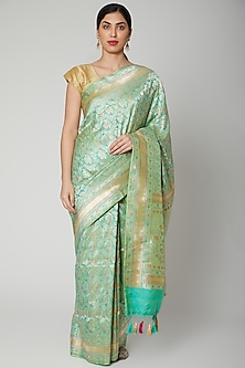 Sea Green Zari & Resham Embroidered Saree Set by Priyanka Jha