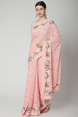 Powder Pink Chikankari Embroidered Saree Set by Priyanka Jha