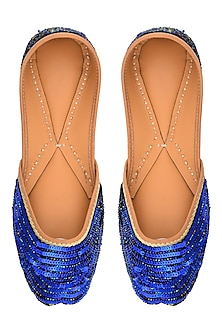 Blue Sequins and Cutdana Embellished Juttis by Punjla