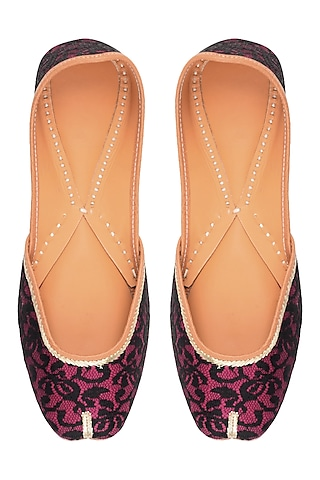 Plum and Black Floral Net Embroidered Juttis by Punjla