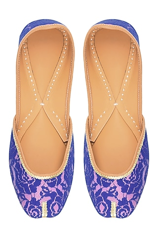 Baby Pink and Blue Rose Net Embroidered Juttis by Punjla