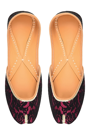 Pink and Black Rose Net Embroidered Juttis by Punjla