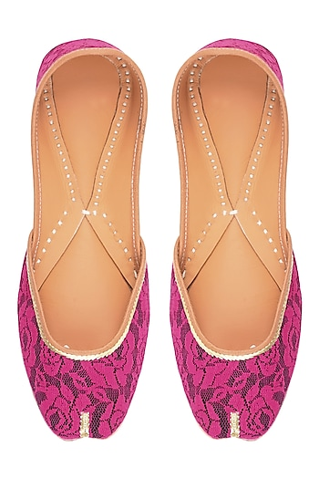 Black and Pink Rose Net Embroidered Juttis by Punjla