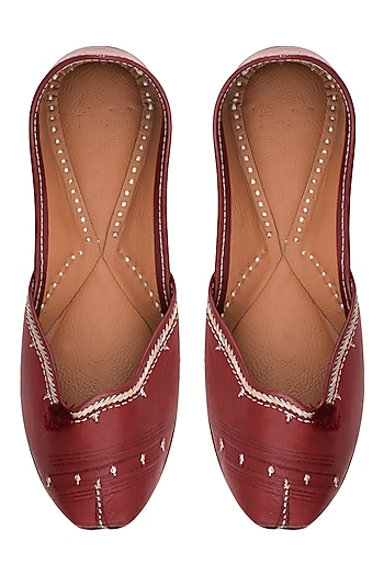 Red Leather Classic Jutti's by Punjla