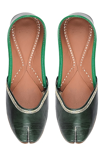 Green Leather Classic Jutti's by Punjla