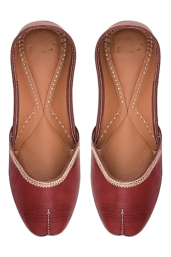 Cherry Leather Classic Jutti's by Punjla