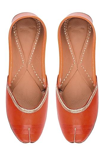 Orange Leather Classic Jutti's by Punjla